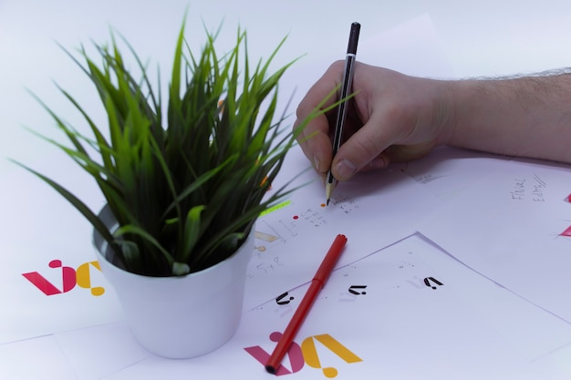 Graphic designer draws a logo in a creative studio on a light background with a flower in a pot and prints.