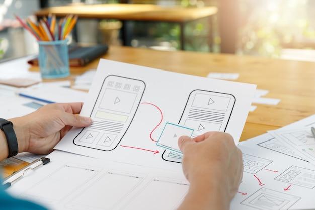 Графические дизайнеры работают вместе с ux ui дизайнером, планируя структуру макета шаблона приложения для мобильного телефона, компьютера.