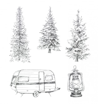 Graphic hand painted forest trees, camping van and vintage lantern clipart set isolated. travel themed hand drawn design set.