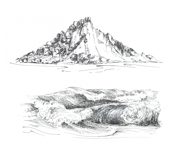 Graphic hand painted mountains and waves clipart set isolated. travel themed island and ocean design.
