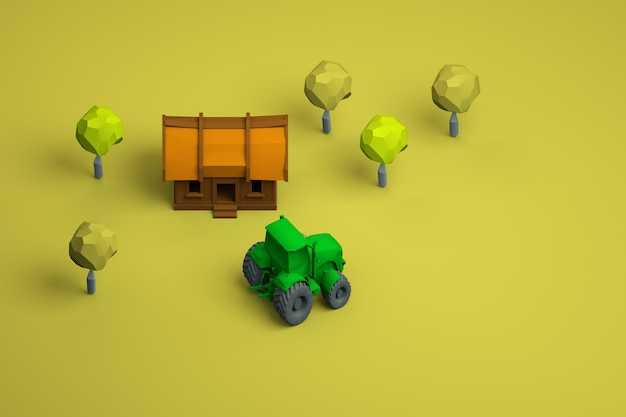 Graphic illustration of a house and a green tractor on a yellow isolated background. models of a wooden house, trees and a green tractor. top view.
