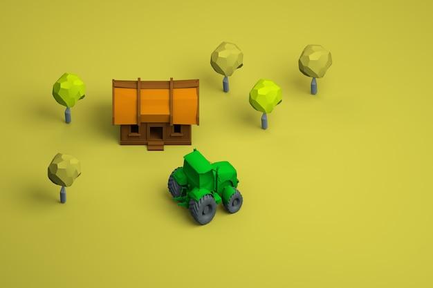 黄色の孤立した背景に家と緑のトラクターのグラフィックイラスト。木造住宅、樹木、緑のトラクターのモデル。上面図。