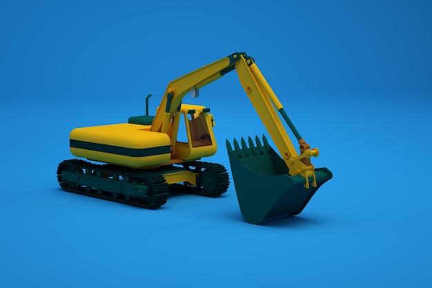 バケット付きの大型重機の図解。バケット付きの黄色の掘削機、青い孤立した背景上のアイソメトリックモデル。クローズアップ、側面図。