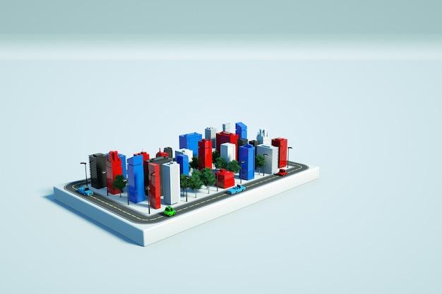 격리 된 흰색 배경에 현대적인 고층 빌딩의 그래픽 그림. 흰색 배경에 키가 큰 새 집의 모델. 화려한 고층 빌딩. 3d 그래픽, 평면도