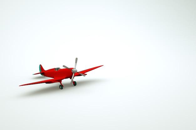 白い孤立した背景上の赤い飛行機のグラフィックモデル。プロペラを備えた赤い回転翼航空機の3dオブジェクト。 3dグラフィックス、クローズアップ