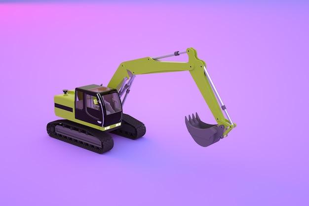 紫、ピンクの孤立した背景に黄色の建設掘削機のグラフィックモデル。建設機械のアイソメトリックモデル。 3dグラフィックス、クローズアップ