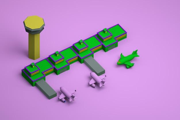 ピンクの孤立した背景に塔と飛行機のある空港のグラフィックモデル。背景に飛行機がある空港の緑のモデル。上面図。