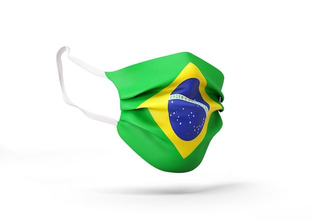 브라질 국기와 함께 외과 마스크의 그래픽 코로나 바이러스에 대한 의료 얼굴 마스크