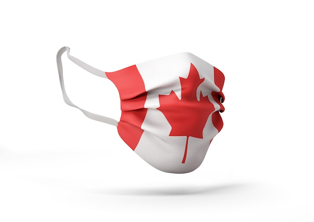 캐나다 국기와 함께 외과 마스크의 그래픽 코로나 바이러스에 대한 의료 얼굴 마스크