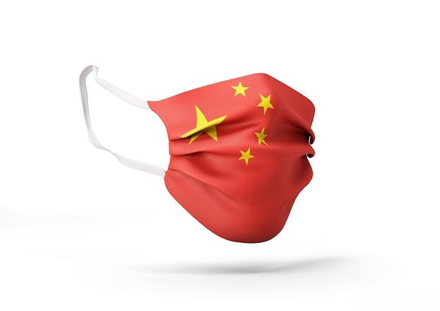 중국 국기와 함께 외과 마스크의 그래픽 코로나 바이러스에 대한 의료 얼굴 마스크