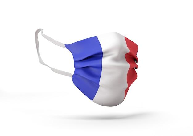 프랑스 국기와 함께 외과 마스크의 그래픽 코로나 바이러스에 대한 의료 얼굴 마스크
