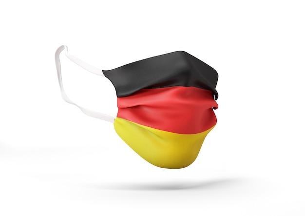 독일 국기와 함께 외과 마스크의 그래픽 코로나 바이러스에 대한 의료 얼굴 마스크