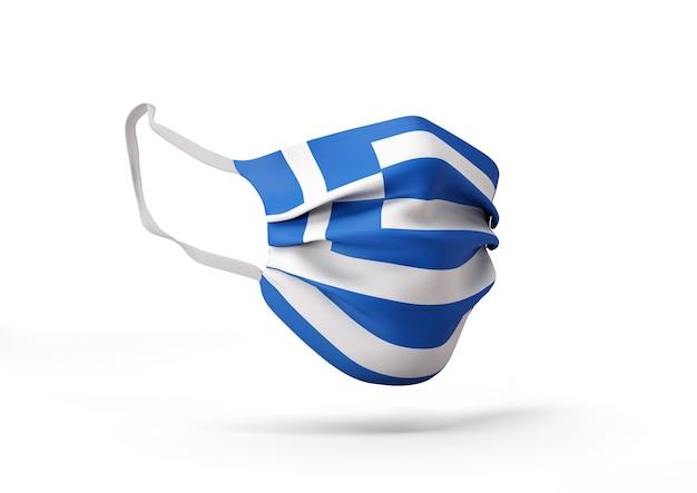 그리스 국기와 함께 외과 마스크의 그래픽 코로나 바이러스에 대한 의료 얼굴 마스크
