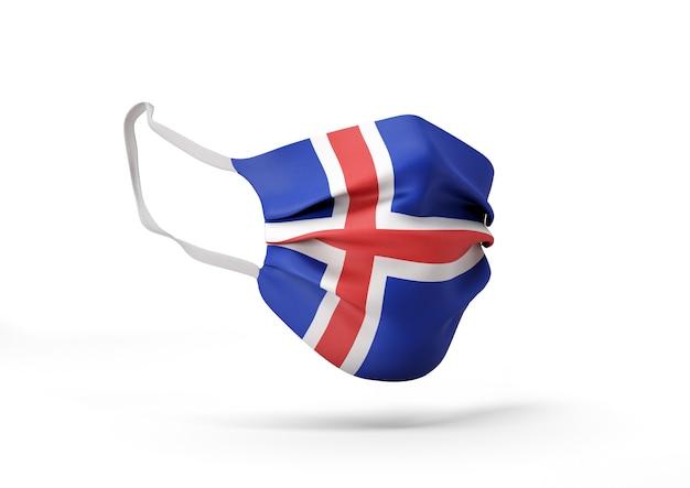 아이슬란드 국기와 함께 외과 마스크의 그래픽 코로나 바이러스에 대한 의료 얼굴 마스크