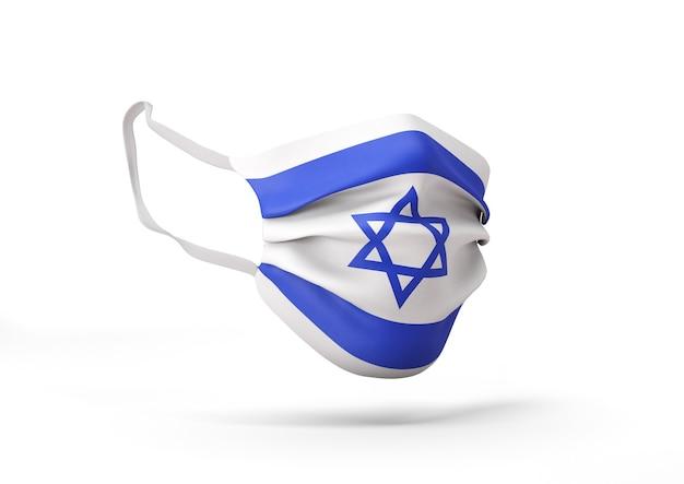 이스라엘 국기와 함께 외과 마스크의 그래픽 코로나 바이러스에 대한 의료 얼굴 마스크