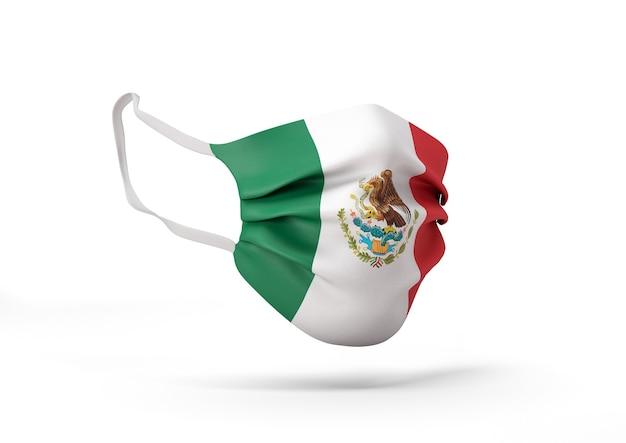 멕시코 국기와 함께 외과 마스크의 그래픽 코로나 바이러스에 대한 의료 얼굴 마스크