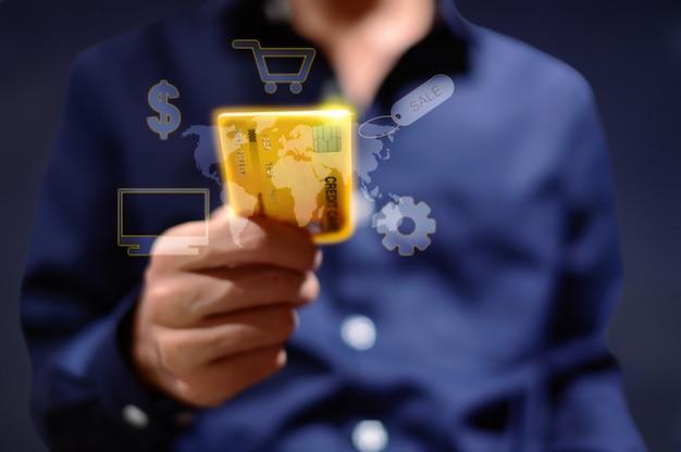 비즈니스 사람들이 신용 카드를 사용하여 상품을 구매하는 것을 보여주는 그래픽