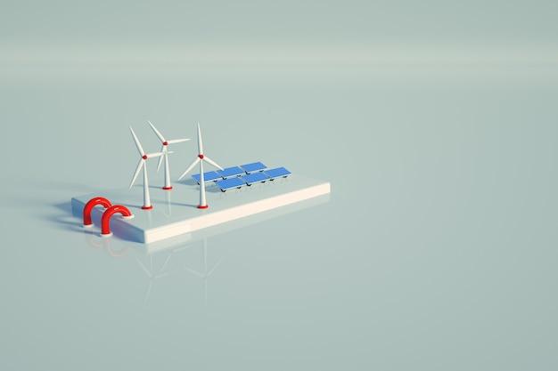 Графическая солнечная станция на белом фоне изолированных. электростанция с солнечными батареями на белом фоне. 3d графика, вид сверху