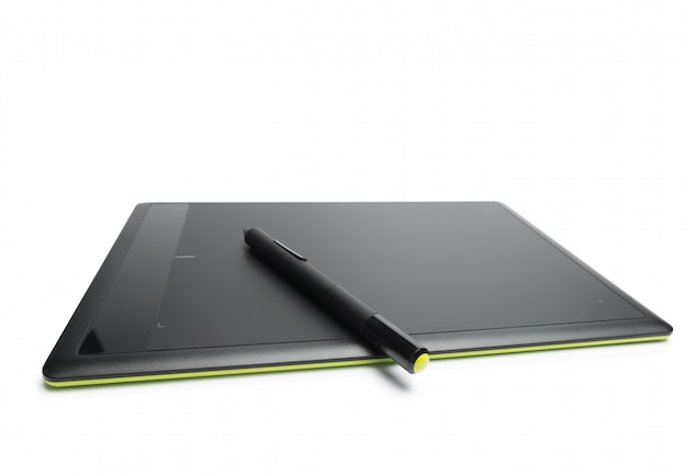 Graphic tablet with pen for illustrators and designers, isolated on white background