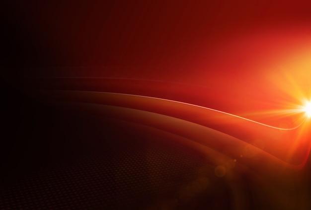 오른쪽 가장자리에 렌즈 플레어가 있는 그래픽 추상 빨간색 테마 배경