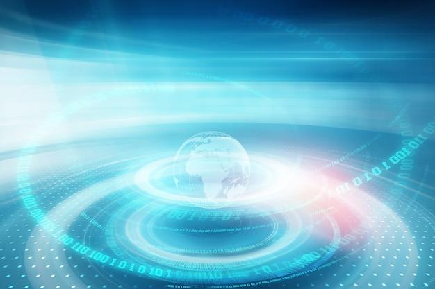 Графические растущие цифровые двоичные коды вокруг земного шара на сцене