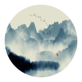 그래픽 일본 추상 중국어 스케치
