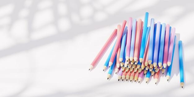 影と日光と白い背景の上のグラファイト鉛筆、コピースペース、3dレンダリングのバナー