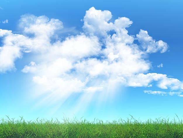 Grass against a cloudy blue sky