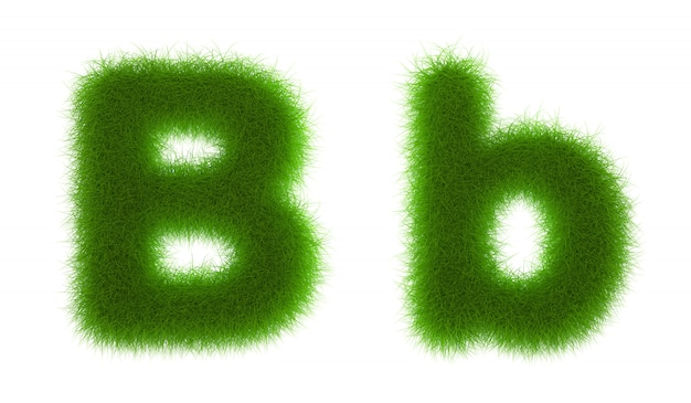 Grass alphabet eco font isolated on white background 3d rendering