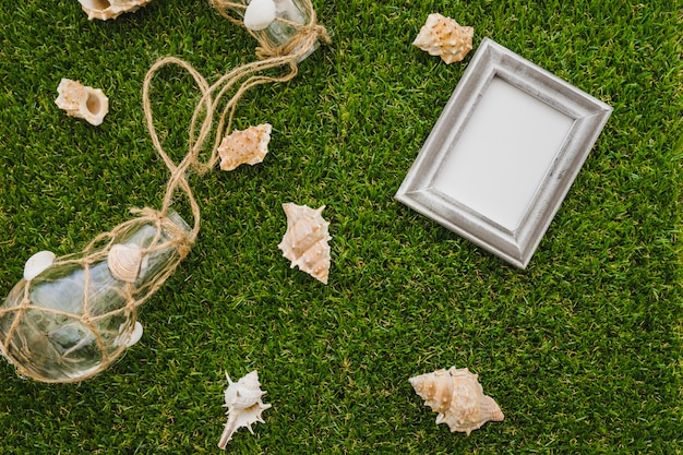 Grass background with frame and seashells