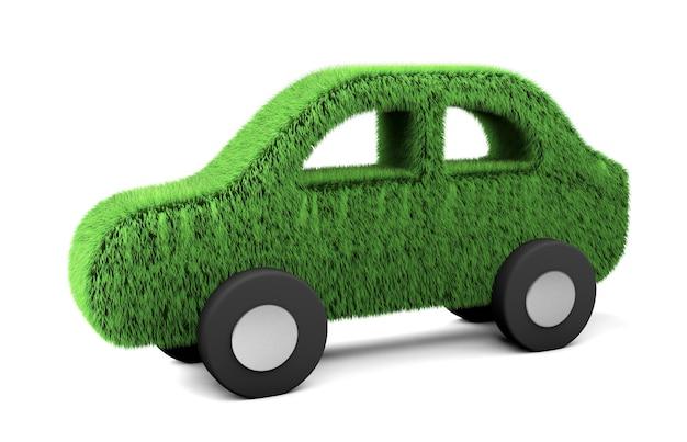 Автомобиль травы. электромобиль с возобновляемой энергией. изолированные на белом фоне. 3d визуализация.