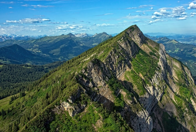草で覆われた山々