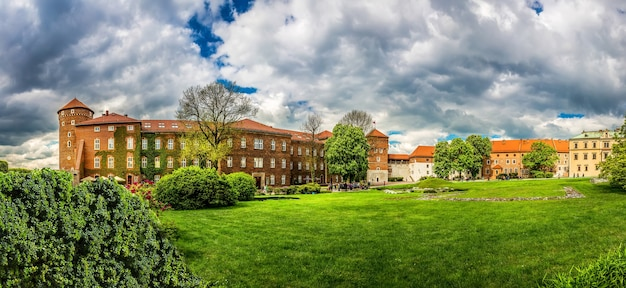 Grass lawn in wawel castle, panoramic view