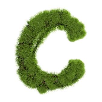 白い背景で隔離の草の文字c。シンボルは緑の草で覆われています。エコレター。 3dイラスト。