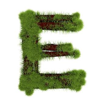 白い背景で隔離の草の文字e。シンボルは緑の草で覆われています。エコレター。 3dイラスト。