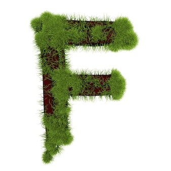 白い背景で隔離の草の文字f。シンボルは緑の草で覆われています。エコレター。 3dイラスト。