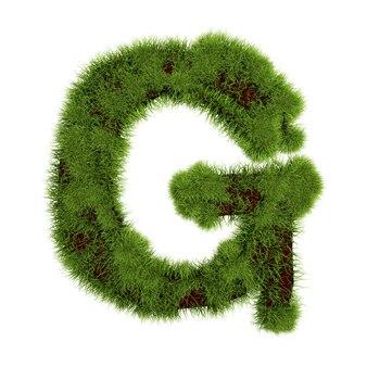 草の文字gは白い背景で隔離。シンボルは緑の草で覆われています。エコレター。 3dイラスト。