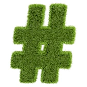 白い背景の上の草の手紙のハッシュタグ-3dイラスト。
