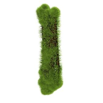私は白い背景で隔離の草の手紙。シンボルは緑の草で覆われています。エコレター。 3dイラスト。