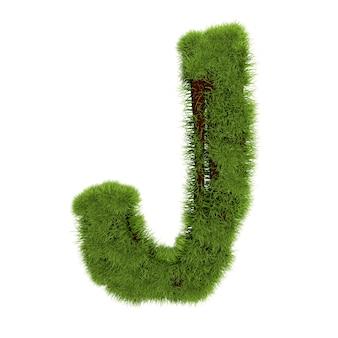 草の手紙jは白い背景で隔離。シンボルは緑の草で覆われています。エコレター。 3dイラスト。 Premium写真
