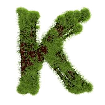 白い背景で隔離の草の文字k。シンボルは緑の草で覆われています。エコレター。 3dイラスト。