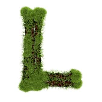 白い背景で隔離の草の文字l。シンボルは緑の草で覆われています。エコレター。 3dイラスト。