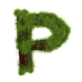 白い背景で隔離の草の文字p。シンボルは緑の草で覆われています。エコレター。 3dイラスト。