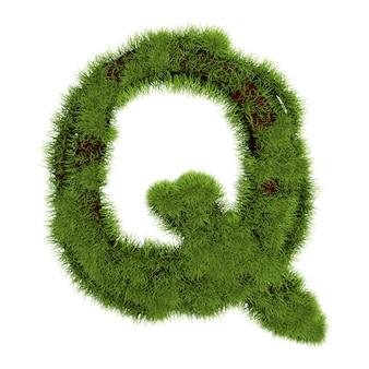 白い背景で隔離の草の手紙q。シンボルは緑の草で覆われています。エコレター。 3dイラスト。