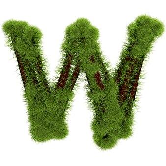 白い背景で隔離の草の文字w。シンボルは緑の草で覆われています。エコレター。 3dイラスト。