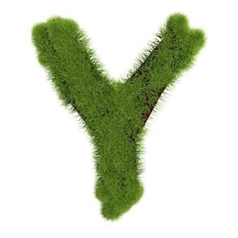 草の文字yは白い背景で隔離。シンボルは緑の草で覆われています。エコレター。 3dイラスト。