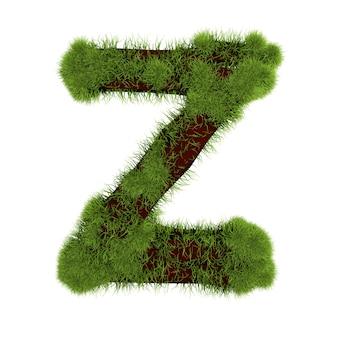 白い背景で隔離の草の文字z。シンボルは緑の草で覆われています。エコレター。 3dイラスト。
