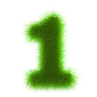 Grass number eco font isolated on white background 3d rendering