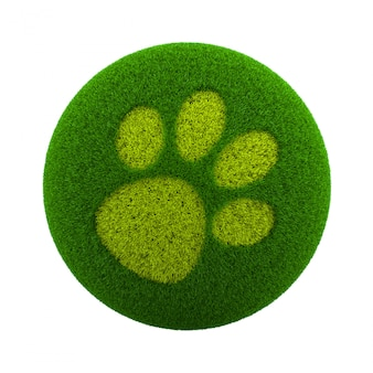 Grass sphere dog footprint icon