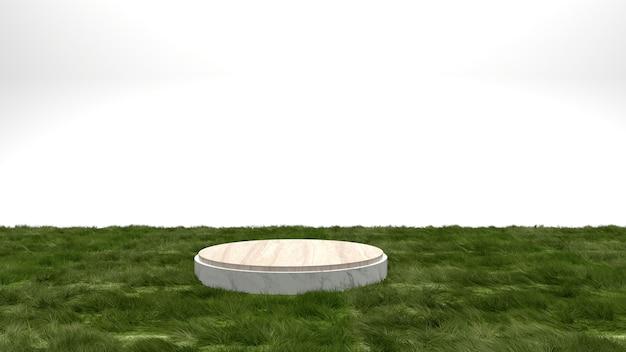 잔디 표면 콘크리트 디스플레이 스탠드 흰색 배경에 기하학적 모양